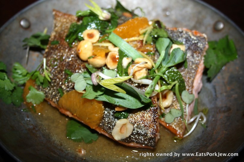 Red trout, mandarin, hazelnut-garum brown butter: the skin on this fish was crispy and salty and perfectly complimented the flavors of the sauce.