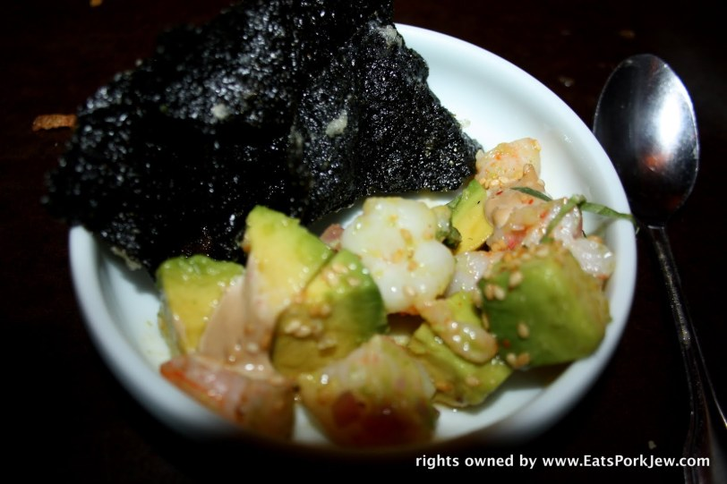 Shrimp avocado and nori: why we don't eat shrimp ceviche on fried black nori more often is beyond me.