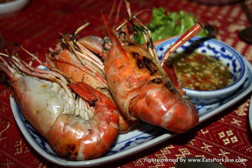 grilled tiger prawns on the Loy Nava in Bangkok, Thailand