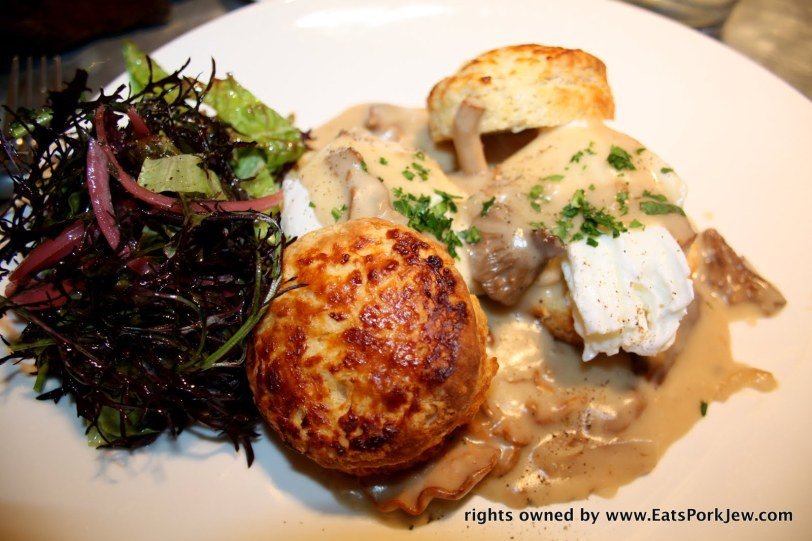 Biscuits and Gravy with hedge hog and candy cap mushroom gravy
