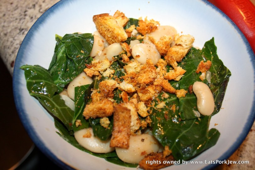 Collard greens with lima beans and herb spiced croutons