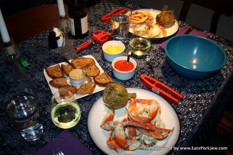 Valentines Day dinner with cracked dungeness crab and steamed artichokes