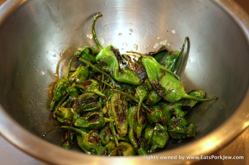 roasted padron pepper in salt and olive oil