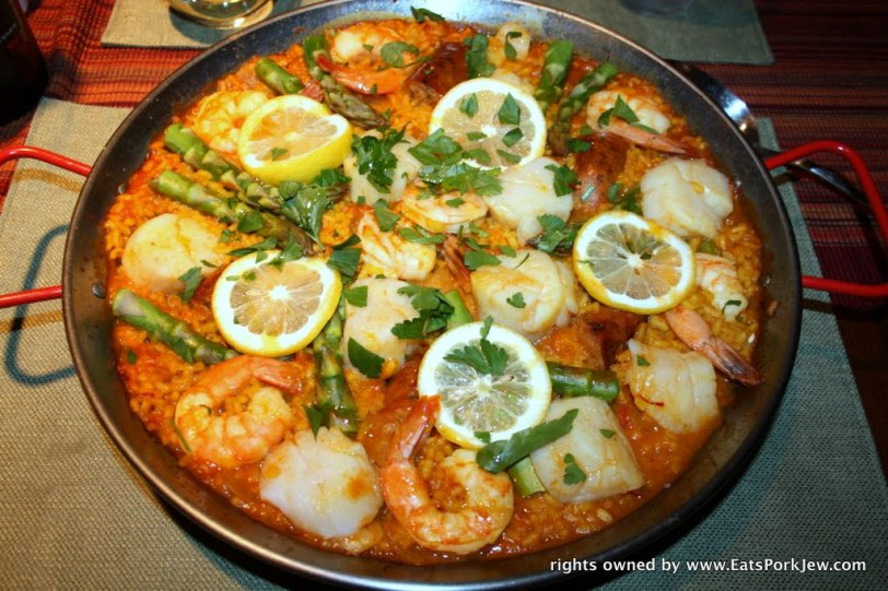 Spanish Paella with scallops and shrimp