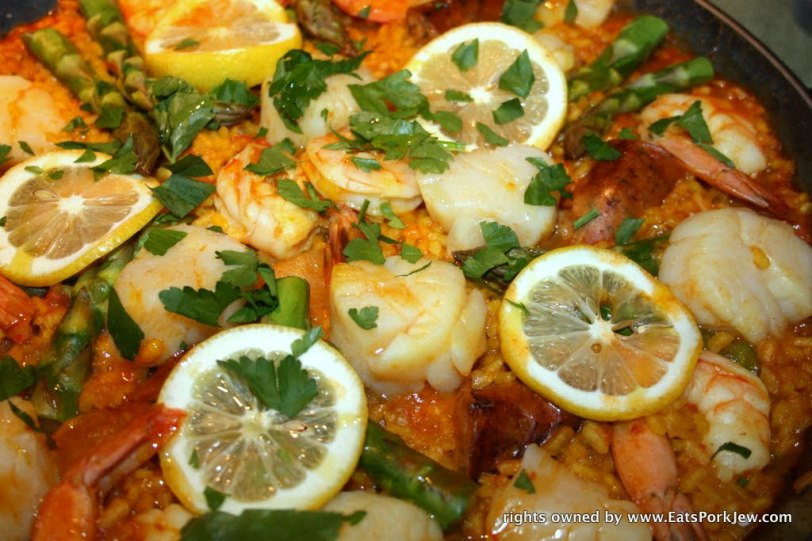 close up of Spanish Paella with scallops and shrimp