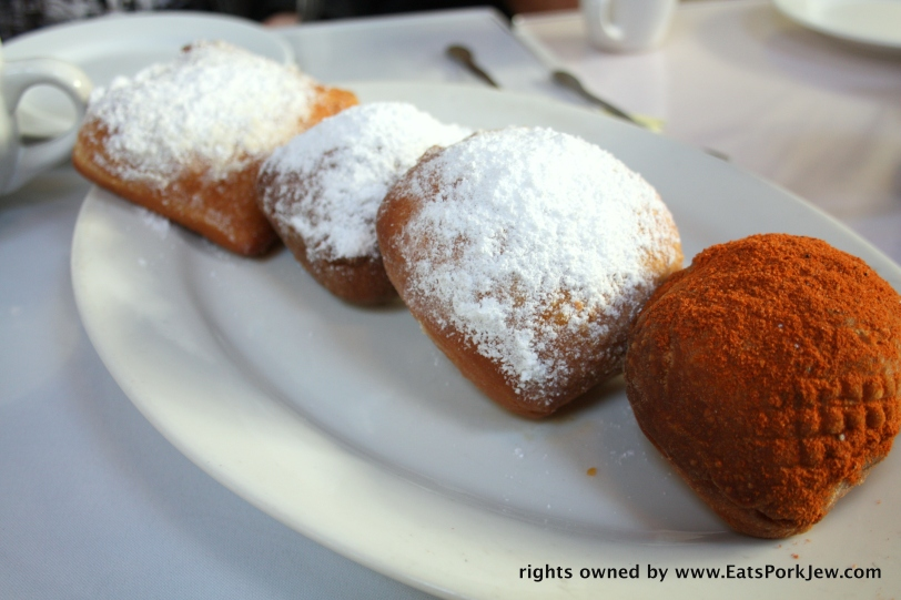 Beignet sampler (regular, apple, chocolate, and crawfish)