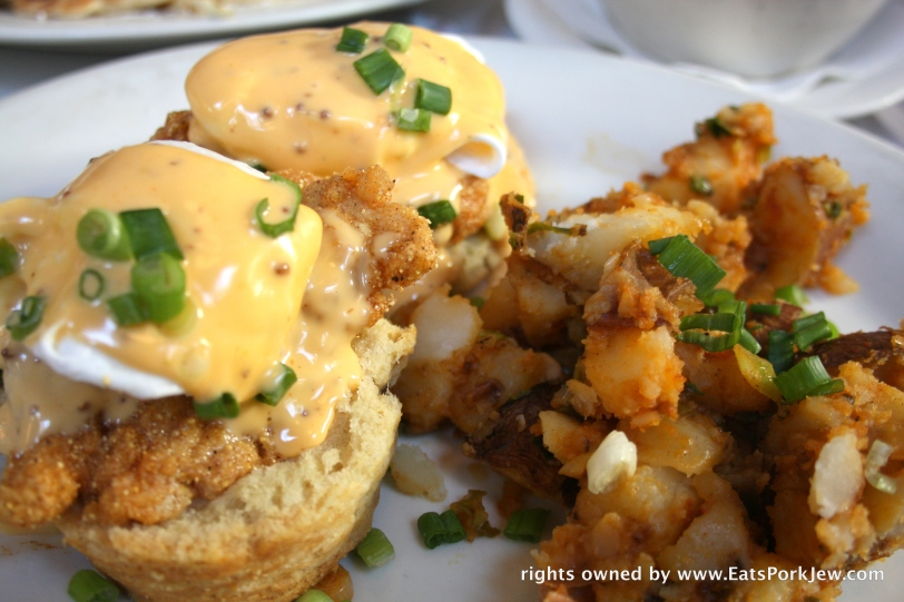 Fried chicken eggs benedict from Brenda's French Soul Food in San Francisco