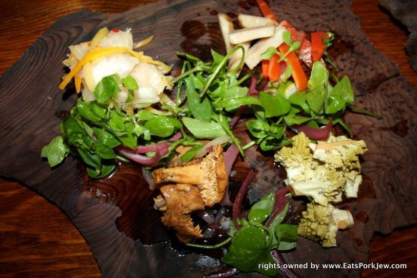 House pickle plate: Kimchi, hedgehog mushrooms, sunchokes, romanesco, onions.
