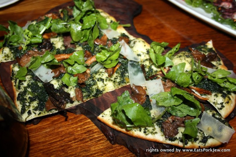 Wild Foraged nettle pesto, yellow foot mushrooms, wild watercress, Bohemian Creamery caproncino flat bread.