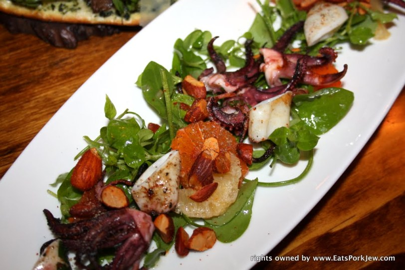 Wild line caught grilled Monterey calamari, Backyard citrus, wild foraged lettuces and spiced almonds.