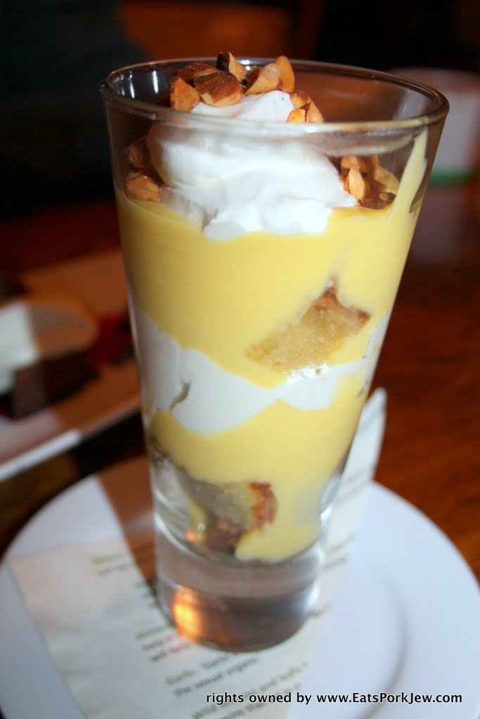 Dry Creek Olive Oil Cake Trifle with Backyard meyer lemon curd, Strauss sweet cream, toasted almonds.