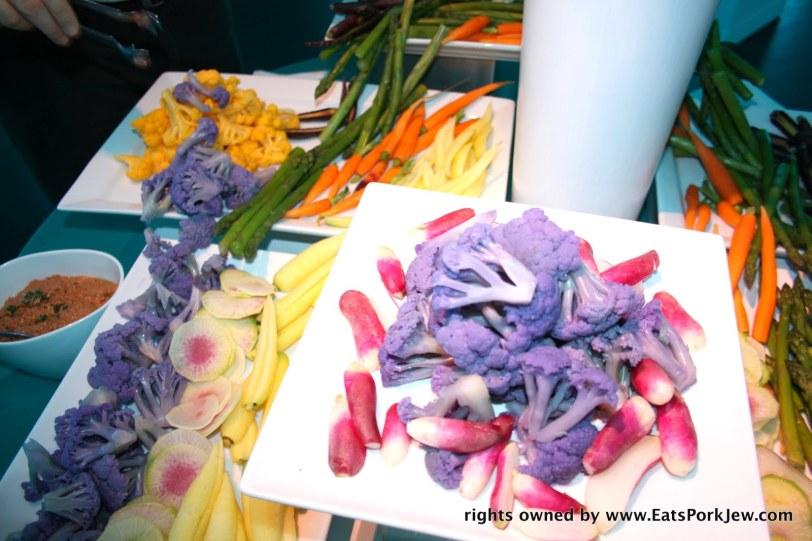 purple cauliflower and heirloom vegetables