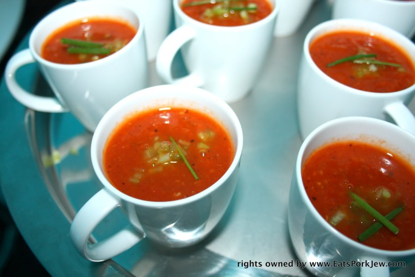 warm cup of pepper and tomato soup.
