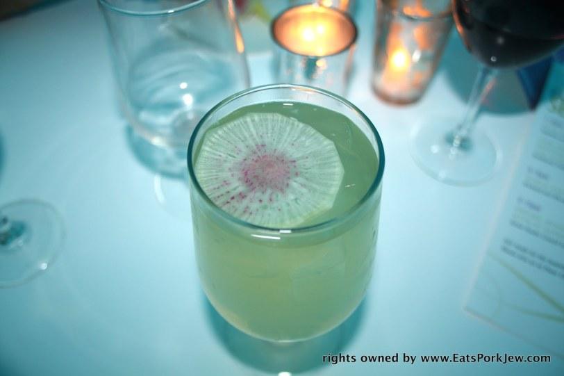 Wine spritzer chardonnay lemonade and watermelon radish