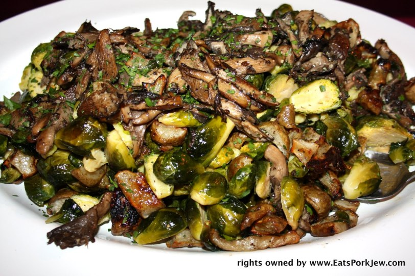 Roasted brussel sprouts and mushrooms.