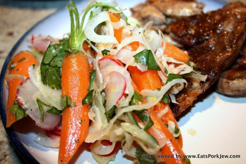 carrot fennel radish salad with a cumin yogurt vinaigrette inspired by Bar Jules, SF