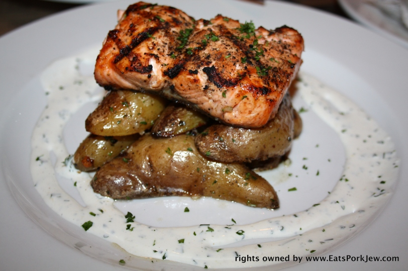 Grilled Salmon with roasted potatoes and drizzle of fine herbs and crème fraiche from Chez Maman in Hayes Valley