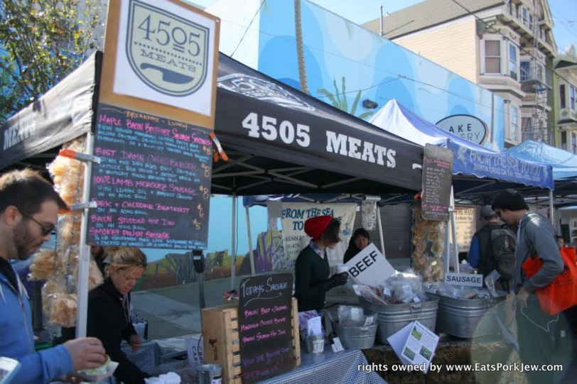 4505 Meats cart or stand at the Sunday morning Grove Street Farmers Market in San Francisco