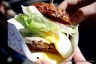 The Best Damn Cheeseburger from 4505 Meats in San Francisco, fried egg, dry aged grass fed beef, gruyere, and red onions
