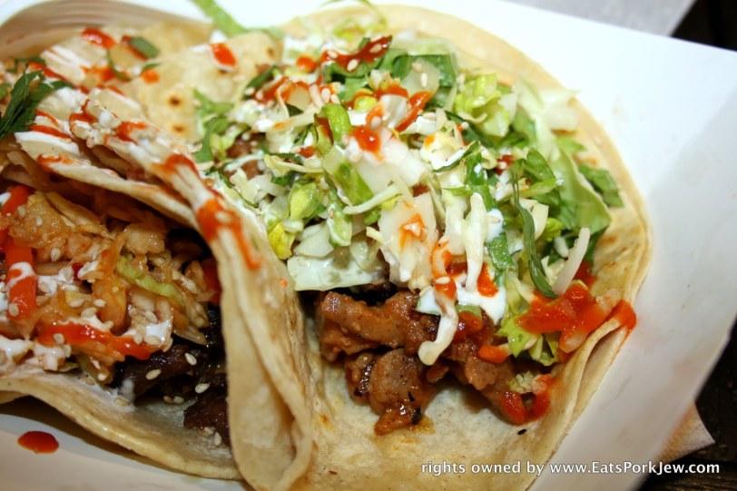 Takorean beef bulgogi in a tortilla with Sriracha sauce at DC's Union Market #2
