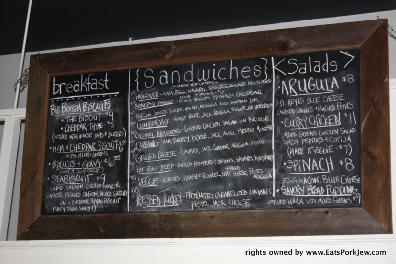 Chalkboard menu in the big bottom market in Guerneville, CA