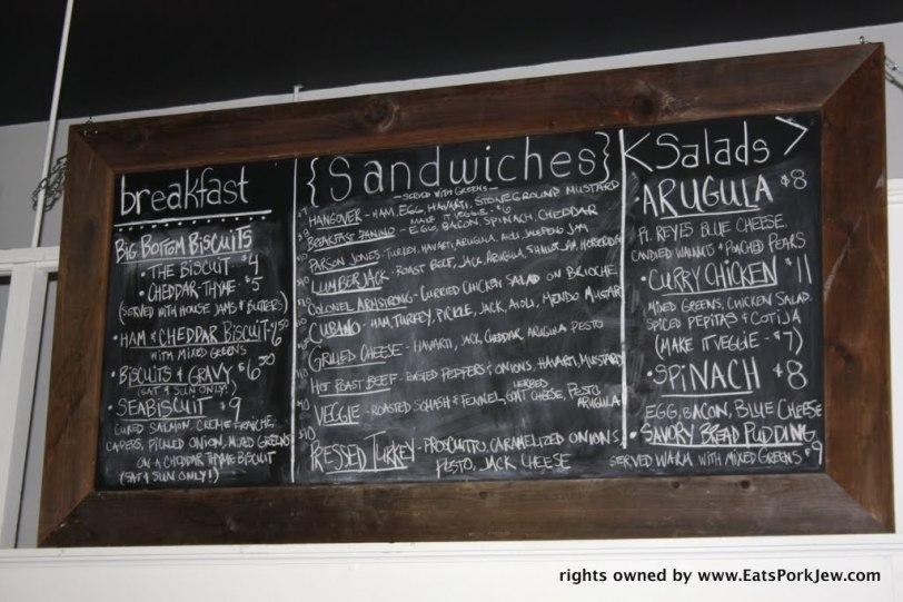 Chalkboard menu in the big bottom market in Guerneville, CA