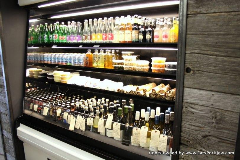 fancy drinks case in the big bottom market in Guerneville, CA
