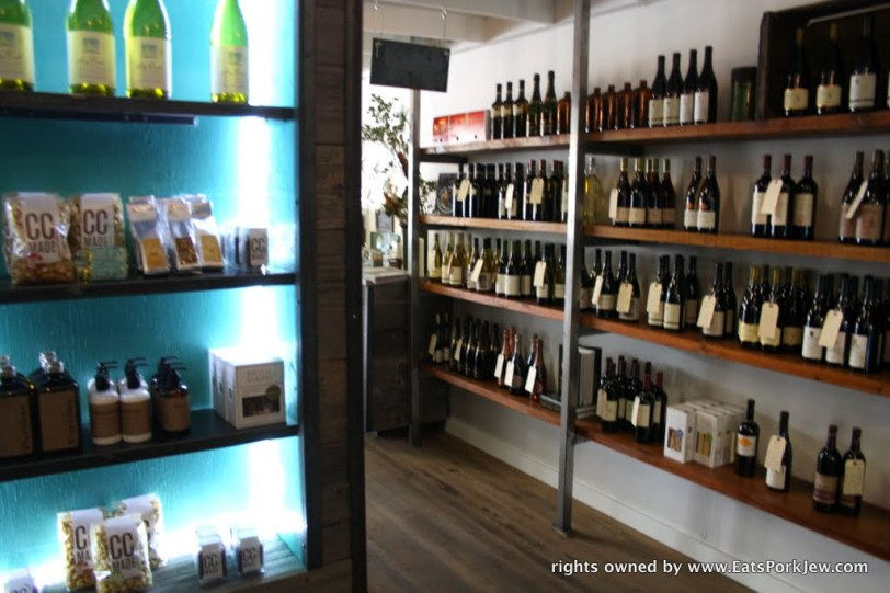 wine racks and delicious treats inside the big bottom market in Guerneville, CA