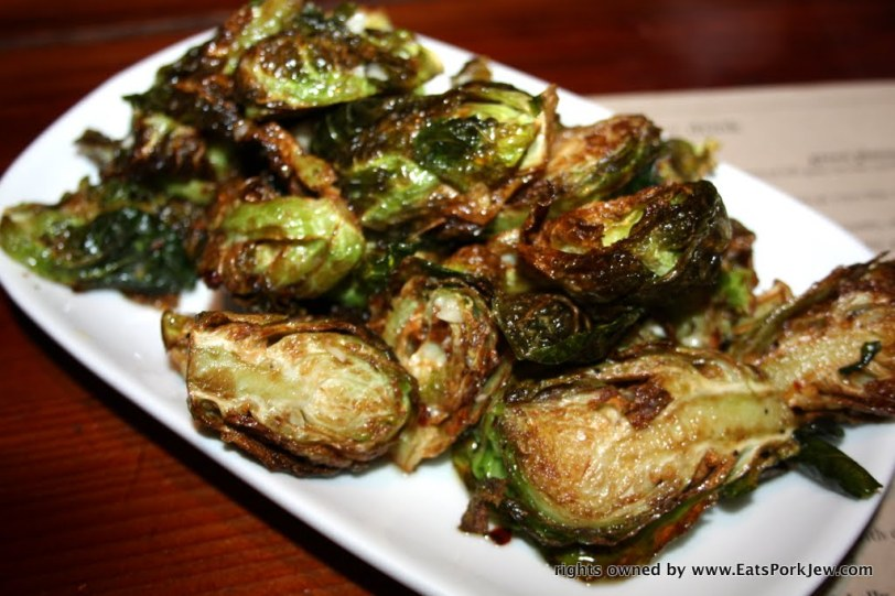 Flash fried brussel sprouts, chili, lemon, garlic and olive oil from Boon Eat Drink in Guerneville, CA