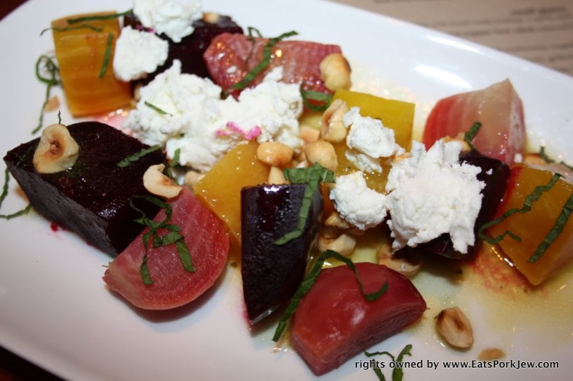 Chilled tri-colored organic beet salad, redwood hill goat cheese, toasted hazelnuts, mint, citrus vinaigrette.