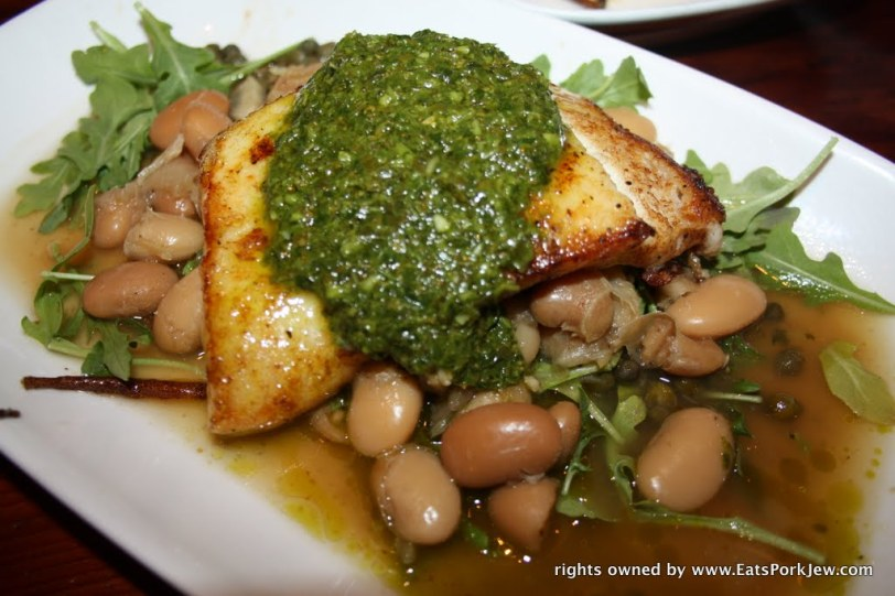 Seared halibut over fennel braised Iacopi Farms butter beans with a dollop of basil pistou from Boon Eat & Drink in Guerneville, CA