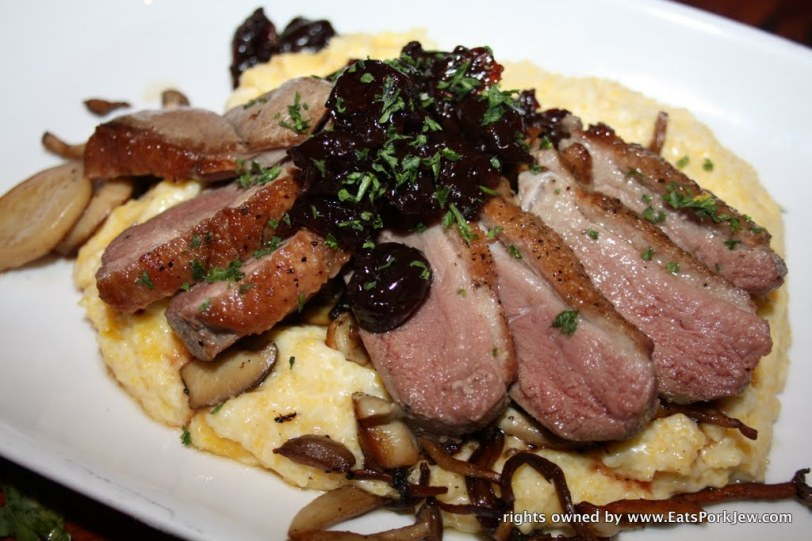 Liberty Farms duck breast over creamy mushrooms polenta, cherry mostarda from Boon Eat Drink in Guerneville, CA