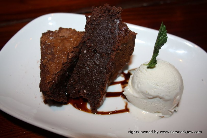 And for dessert, we went with the classic boon brownie, e-guittard chocolate, balsamic-cabernet reduction (when in Rome!), sea salt with a side of fresh whipped cream from Boon Eat & Drink in Guerneville, CA