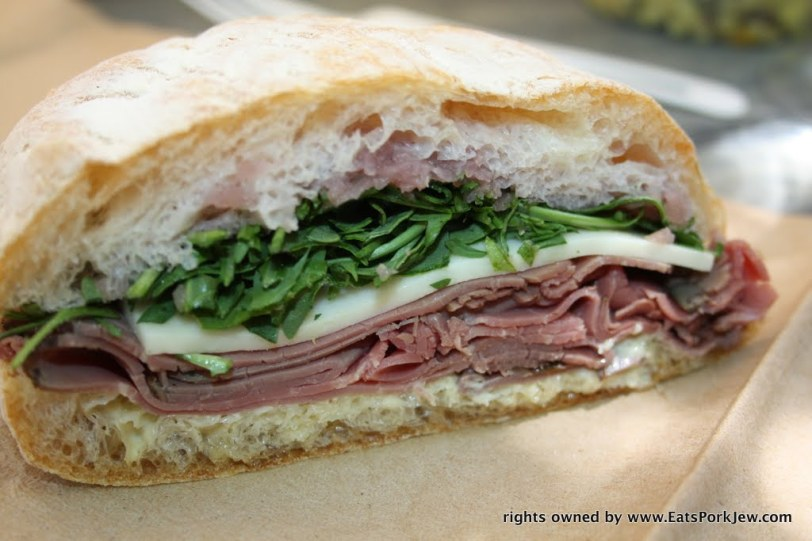 The Lumber Jack sandwich: roast beef, jack, arugula, shallot jam, and horseradish from big bottom market in Guerneville, CA