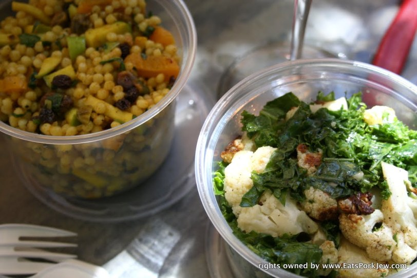 Cauliflower and kale salad and Israeli couscous with dried fruits from big bottom market in Guerneville, CA