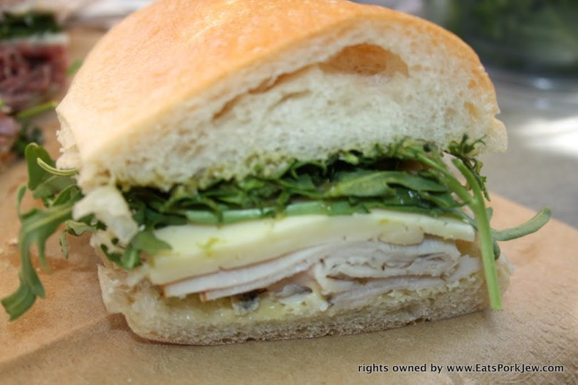 The Parson Jones sandwich: turkey, Havarti, arugula, aioli, and jalapeno jam from big bottom market in Guerneville, CA
