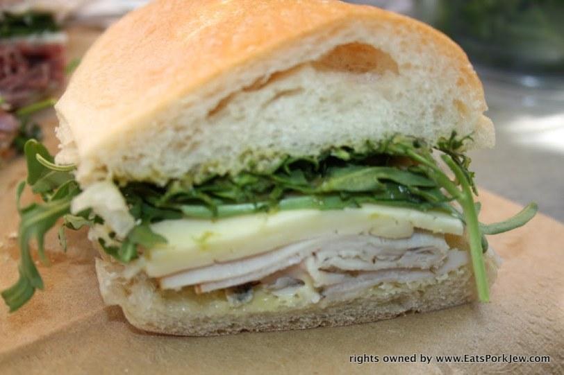 The Parson Jones sandwich: turkey, Havarti, arugula, aioli, and jalapeno jam from big bottom market in Guerneville, CA