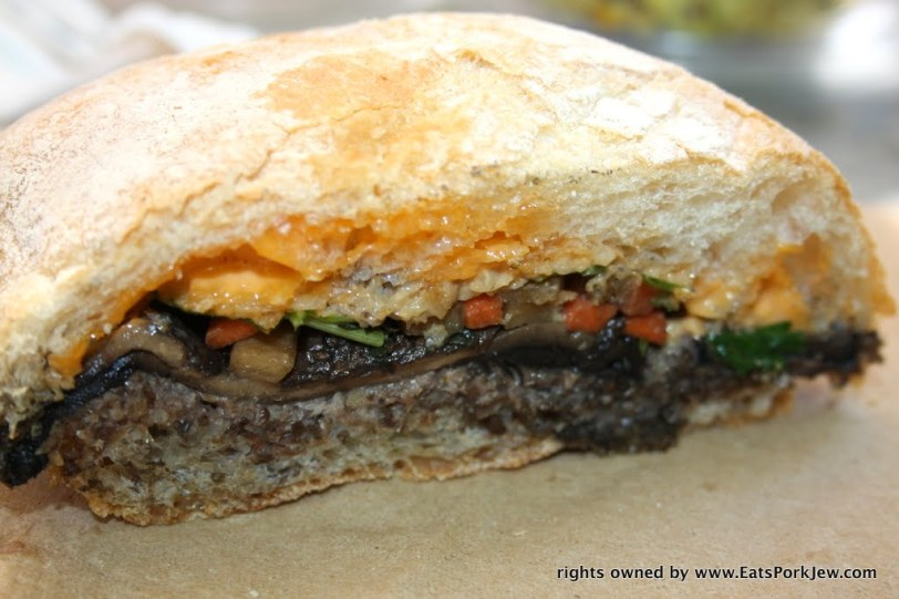 Roasted veggie sandwich: roasted squash, mushrooms, and fennel, herbed goat cheese, red pepper aioli and arugula from big bottom market in Guerneville, CA