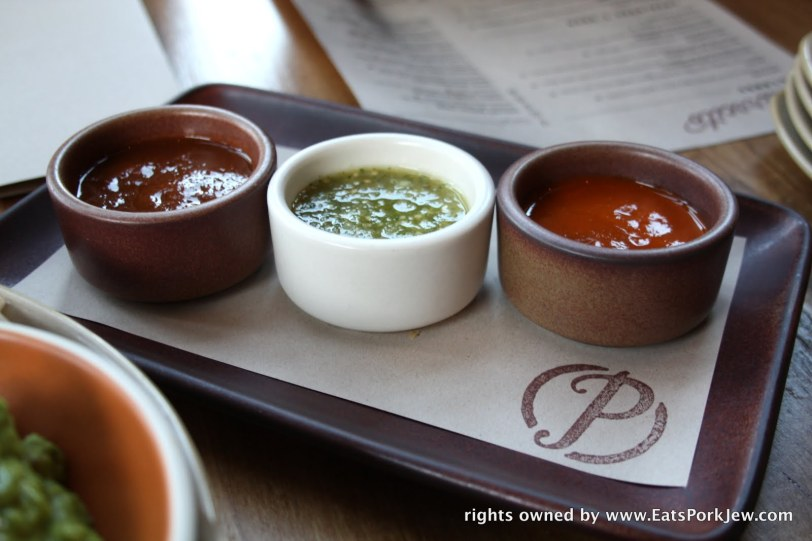 Trio of salsas from Padrecito an upscale Mexican restaurant in Cole Valley