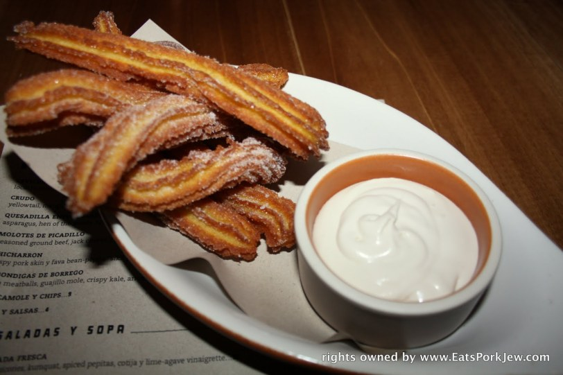 dessert we got their churros served with a spiced and sweet crème fraiche from Padrecito an upscale mexican restaurant in San Francisco's Cole Valley