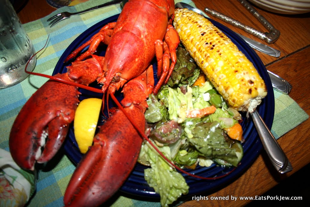New England lobster dinner in Wellfleet with grilled corn and a simple ...