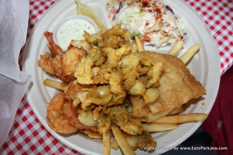 fried plate combination or haddock, shrimp, scallops, oyster bellies and French fries from Moby Dick's in Wellfleet, MA