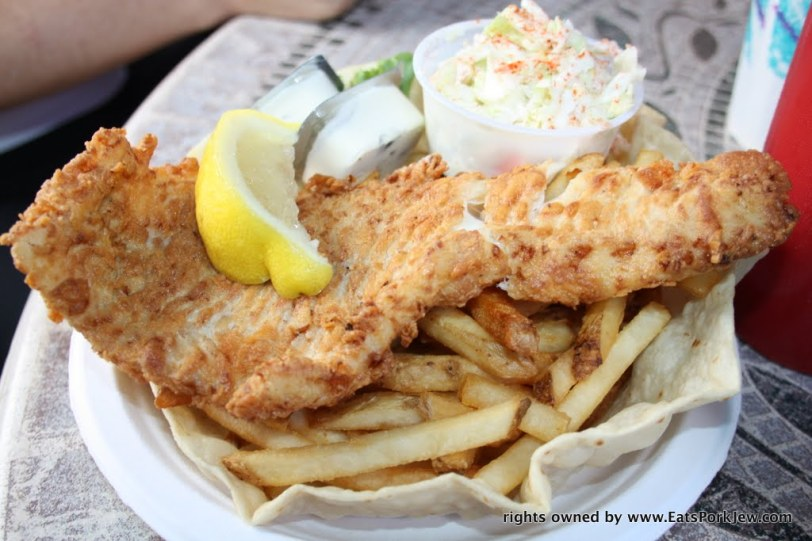 Fish N Chips plate with Haddock at the Beachcomber in Wellfleet, MA