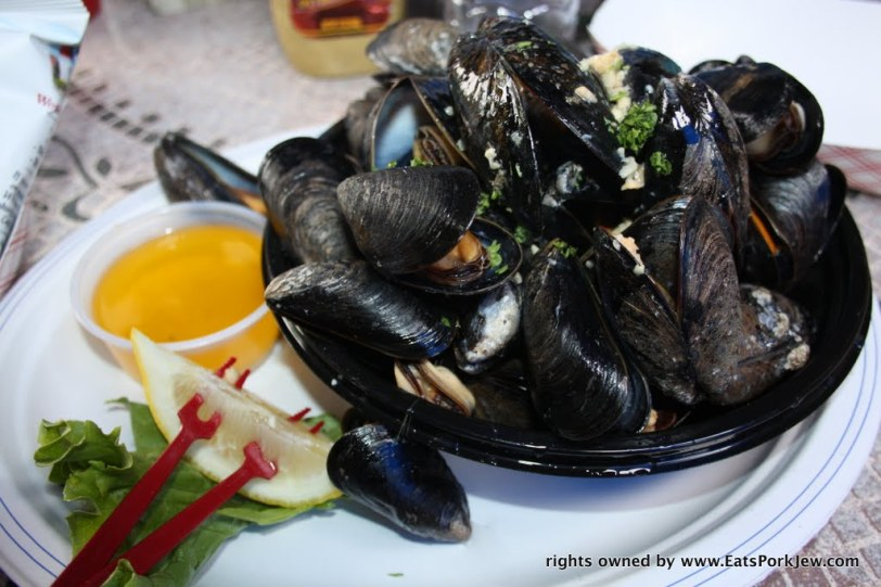 Steamed Eastham mussels in garlic and butter at the Beachcomber restaurant in Wellfleet, MA