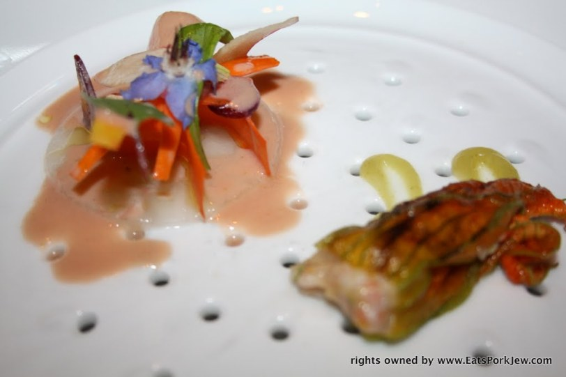 langoustine carpaccio with edible flowers and garden vegetables at Guy Savoy in Las Vegas at Caesars Palace