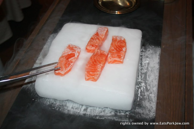 Salmon Iceberg at Guy Savoy in Las Vegas. Salmon cold seared on dry ice