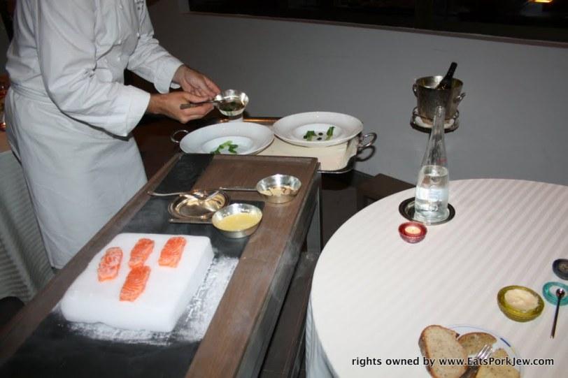 Guy Savoy Las Vegas' salmon iceberg dish with chervil gelees and bok choy