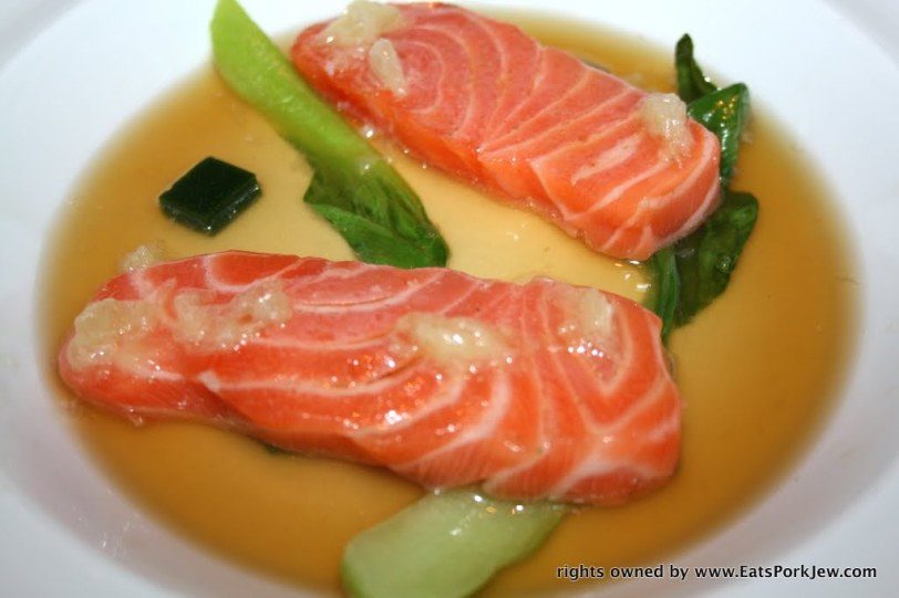 Salmon iceberg dish completely plated with hot fish broth from Guy Savoy's restaurant in Las Vegas