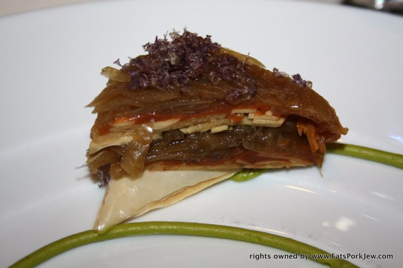 a spring vegetable tart made of phyllo pastry layers and topped with crunchy purple potatoes at Guy Savoy in Las Vegas at Caesars Palace #2