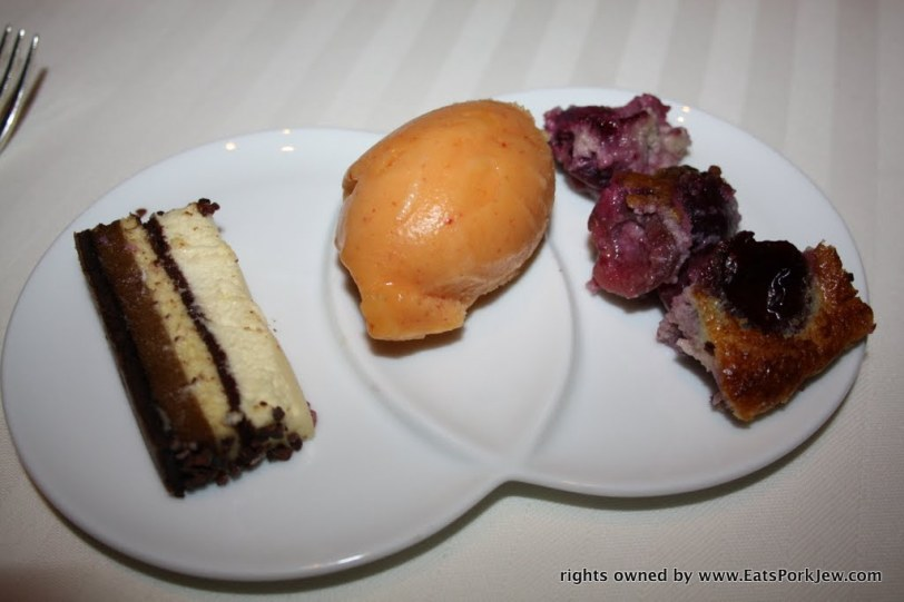 Cherry clafoutis, tiramisu, and peach champagne sorbet from Guy Savoy in Las Vegas